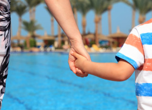 Mother and Son at Swimming Pool